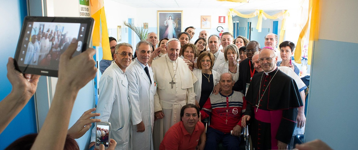 """Image: Pope Francis during his visit at the Hospice """"San Giuseppe Moscati""""on June 21 in Cassano allo Ionio, as part of his trip to the southern Italian region of Calabria."""