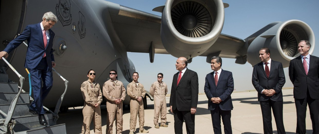 Image: John Kerry arrives in Erbil