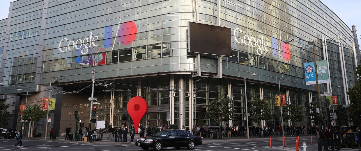 Image: Attendees line up to enter the Google I/O developers conference at the Moscone Center on May 15, 2013