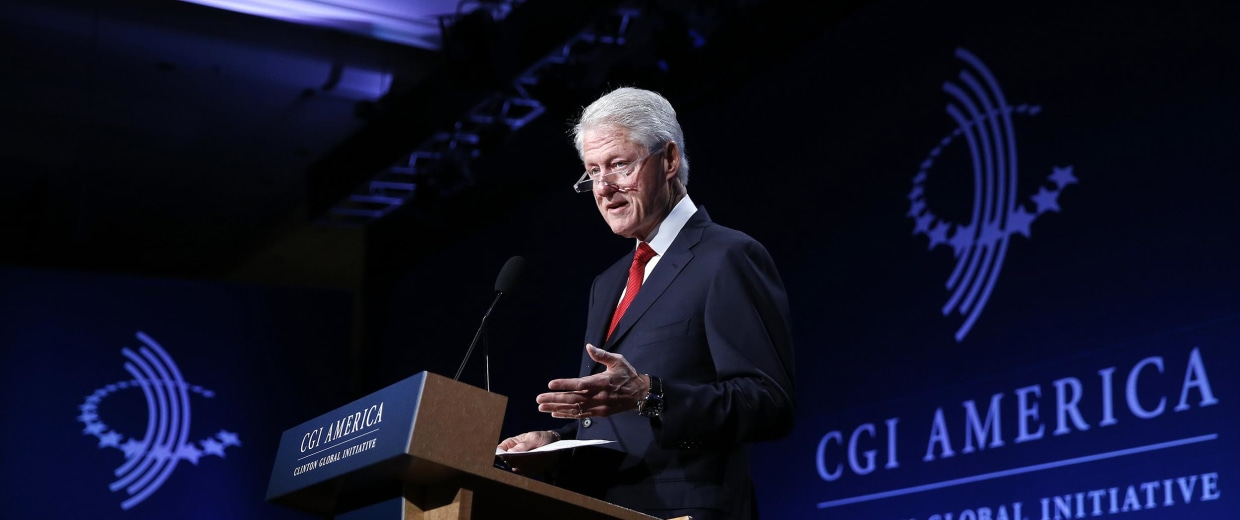 Image: Former President Bill Clinton speaks to gathered participants at the annual gathering of the Clinton Global Initiative America, at the Sheraton Downtown, in Denver, on June 24.