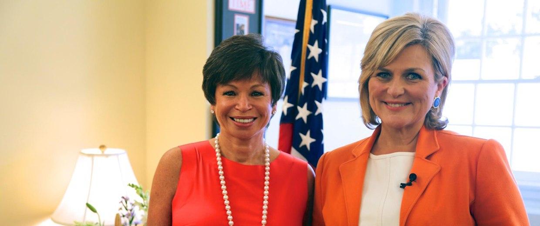 Image: Cynthia McFadden of NBC News in the White House with Valerie Jarrett, senior adviser to President Obama.