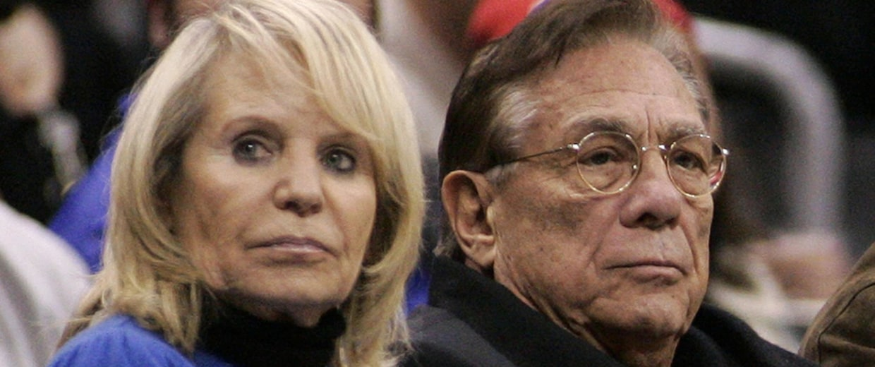 Image: Los Angeles Clippers owner Donald Sterling, center, and his wife Shelly attend an NBA basketball game in 2008.