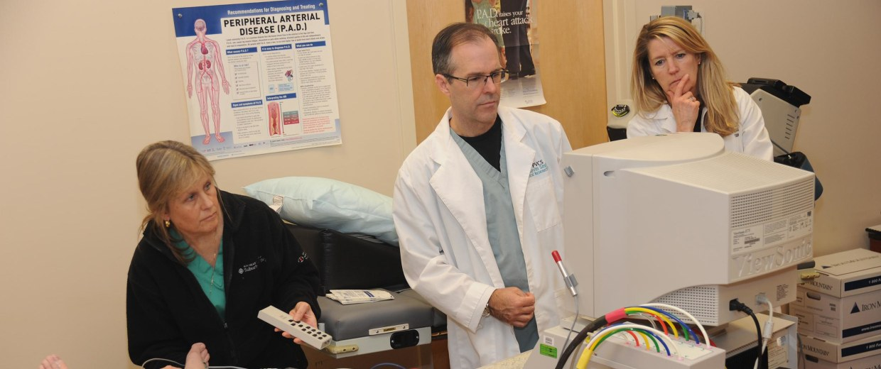 Image: Louise Benge, Brodhead, Ky., undergoes Doppler arterial examination to evaluate arterial circulation of the lower extremities on Jan. 31, 2011