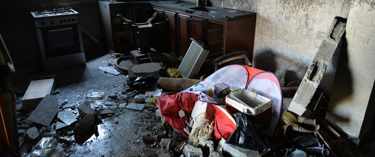 Image: Inside of house of Amer Abu Eisheh, one of the suspects in killing the teenage settlers, after it was blown up by Israeli soldiers, in Hebron