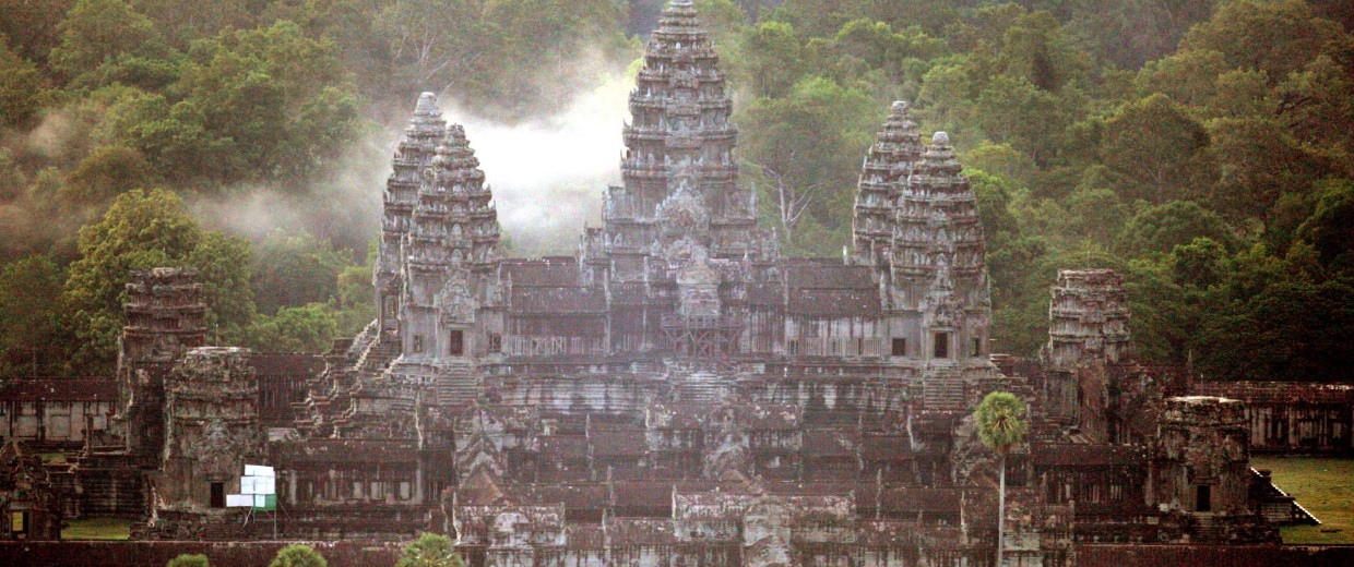 Image: Angkor Wat is from an aerial view at sunrise in Siem Reap, Cambodia.