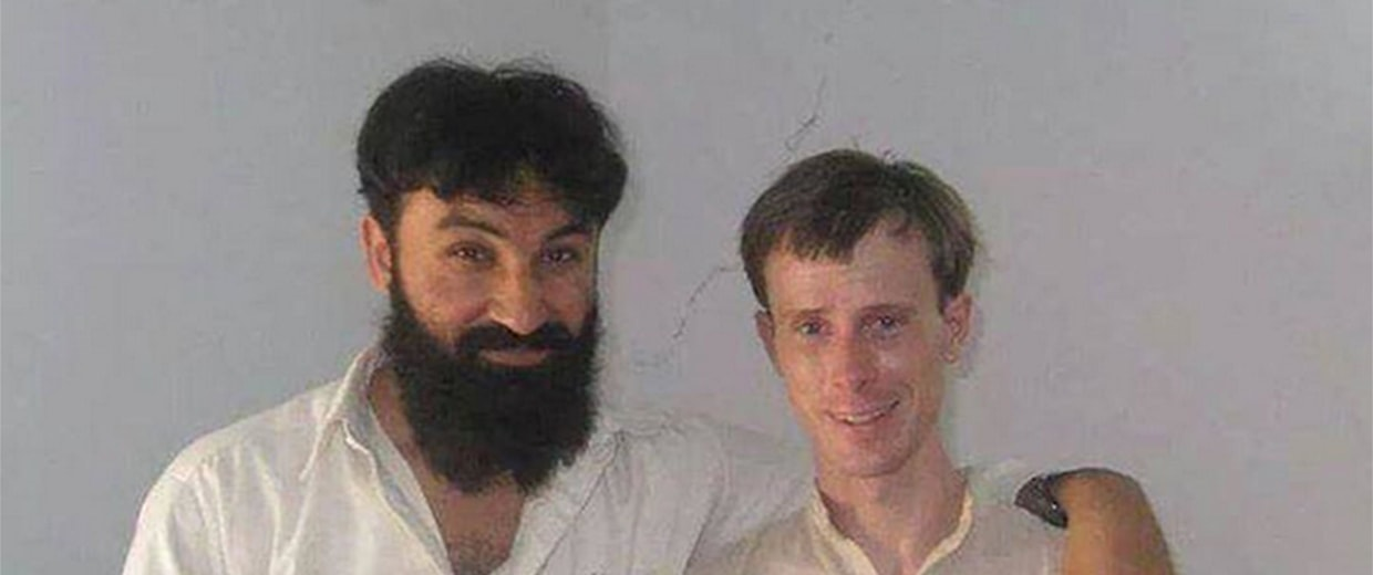 An undated photo of U.S. soldier Bowe Bergdahl with Badruddin Haqqani, the son of former Afghan Mujahideen commander Maulvi Jalaluddin Haqqani.