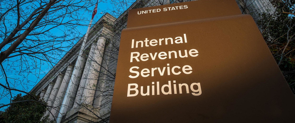 Image: The headquarters of the Internal Revenue Service (IRS) in Washington at daybreak on April 13.
