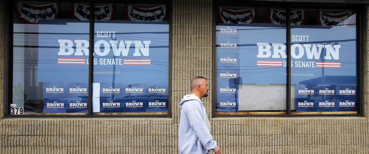 Image: A pedestrian walks past the campaign offices for Republican candidate for the U.S. Senate Scott Brown in Manchester