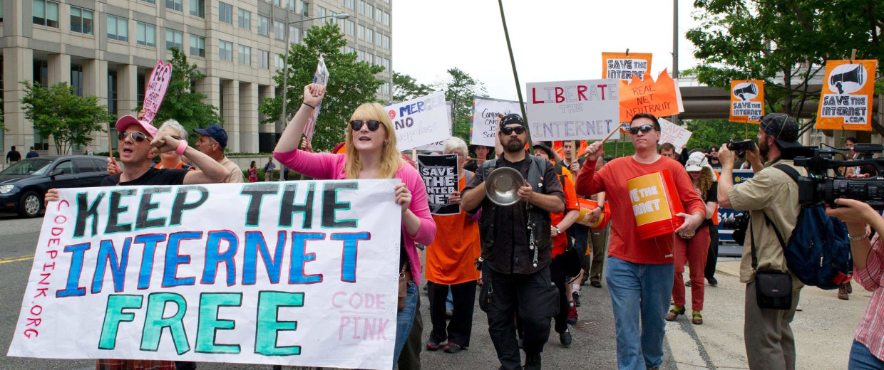 "Image: Protesters hold a rally to support ""net neutrality"""