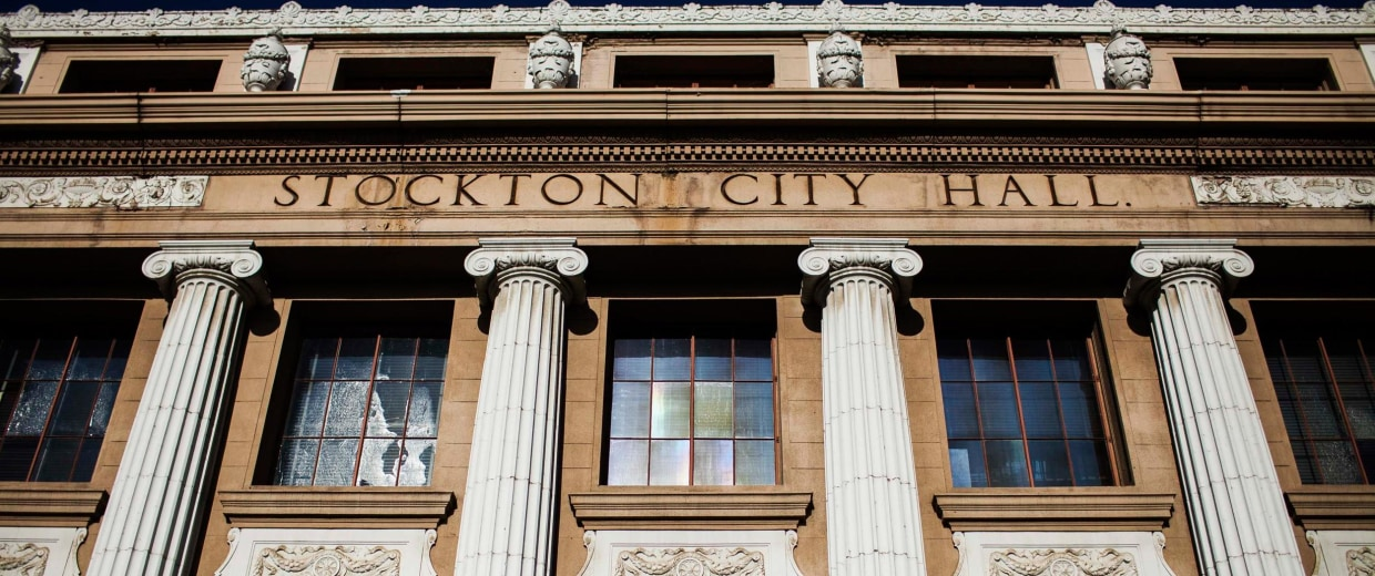 Image: A view of Stockton, California's City Hall