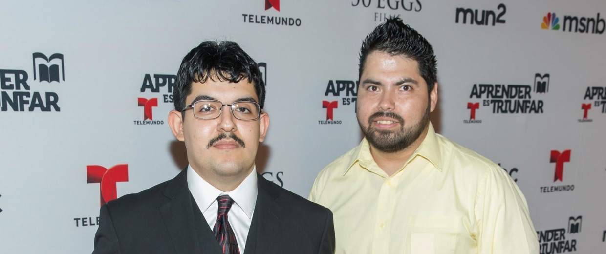 Cristian Arcega and Lorenzo Santillan, two of four former Phoenix, Arizona high school students whose robotic team beat MIT and other prestigious universities in a 2004 national NASA competition.