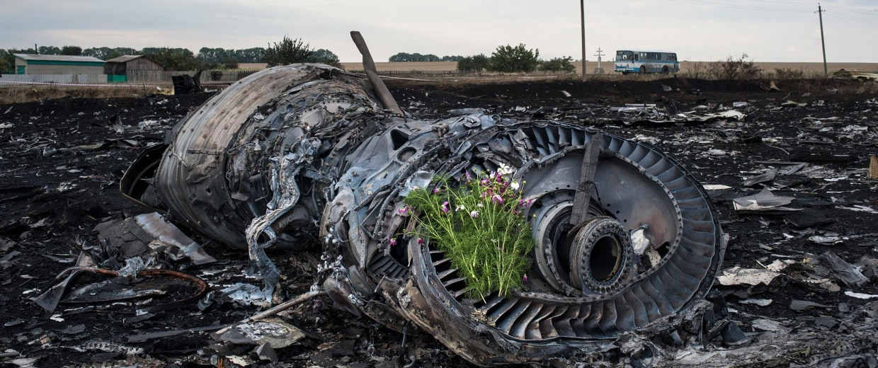 Image: Flowers are placed on a plane engine at the crash site of a Malaysia Airlines jet near the village of Hrabove, eastern Ukraine