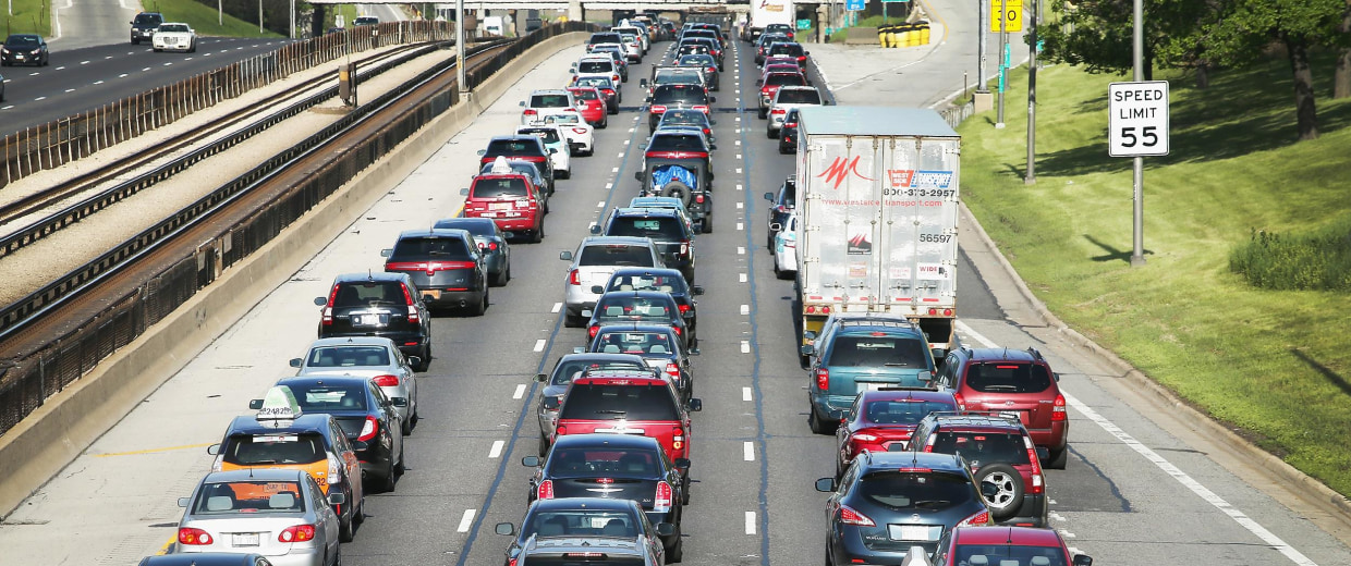 Image: Traffic jams up on the Kennedy Expressway leaving the city for the Memorial Day weekend on May 23 in Chicago, Ill.