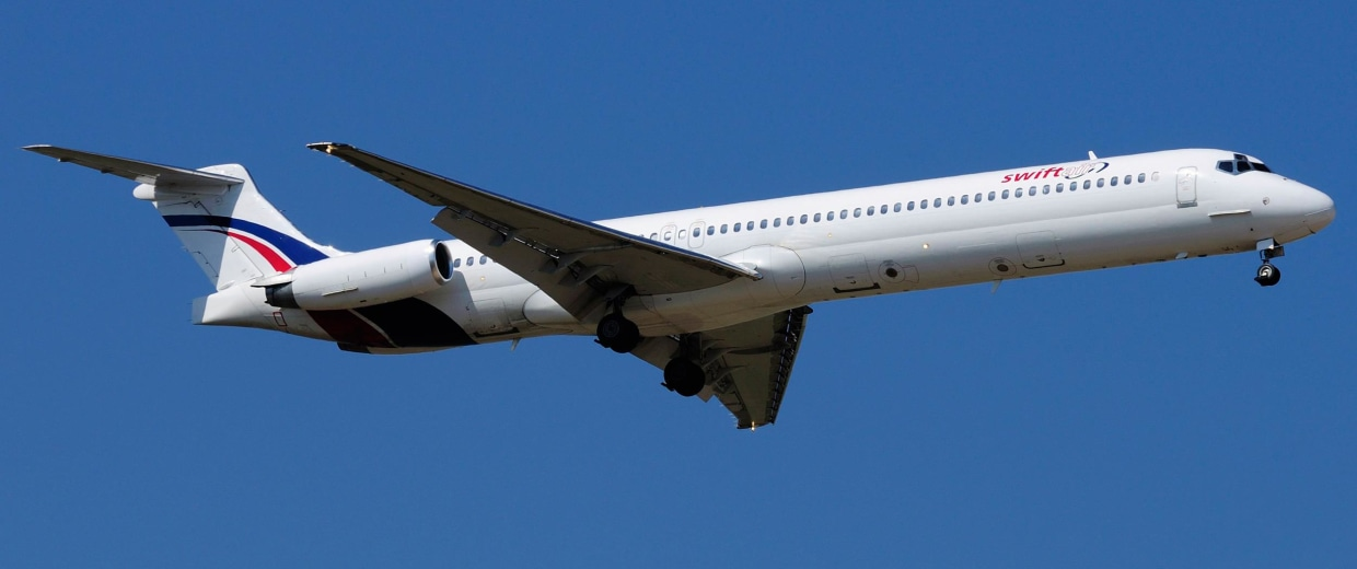 Image: A Swiftair MD-83 airplane is seen in this undated photo