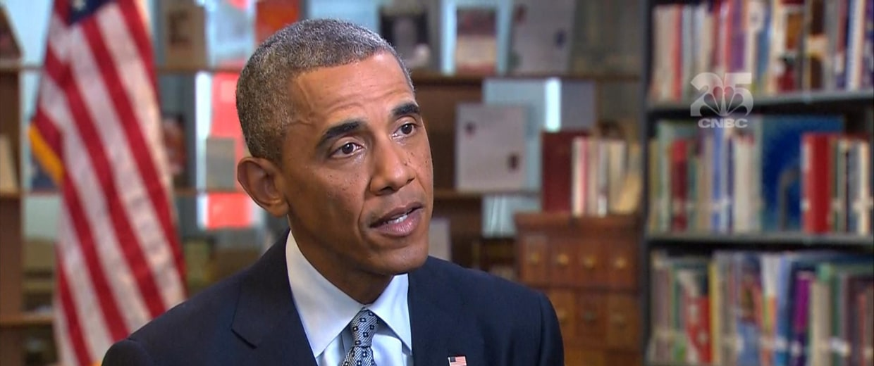 Image: President Obama discusses the economy with CNBC's Steve Liesman