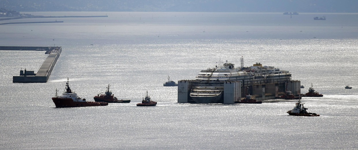 Image: The refloated wreck of the Costa Concordia cruise ship