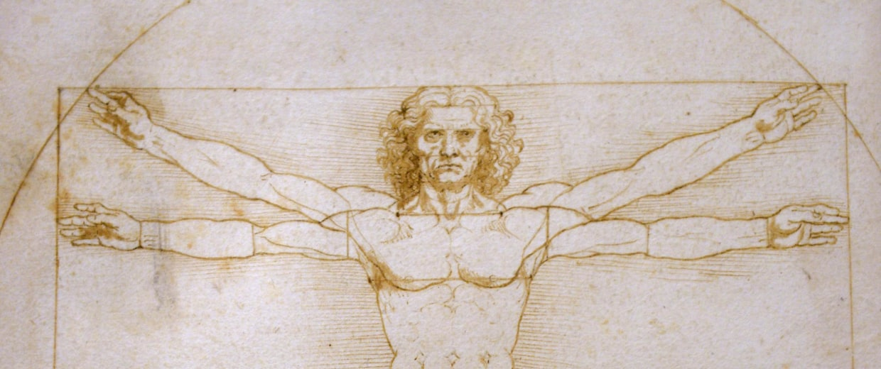 "Image:A picture shows the ""Vitruvian Man"" a drawing by Leonardo da Vinci."
