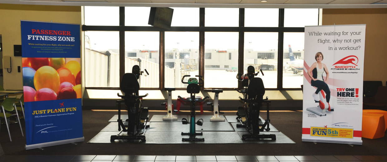 Image: Philadelphia International Airport now has 30 exercise bikes in its terminals.