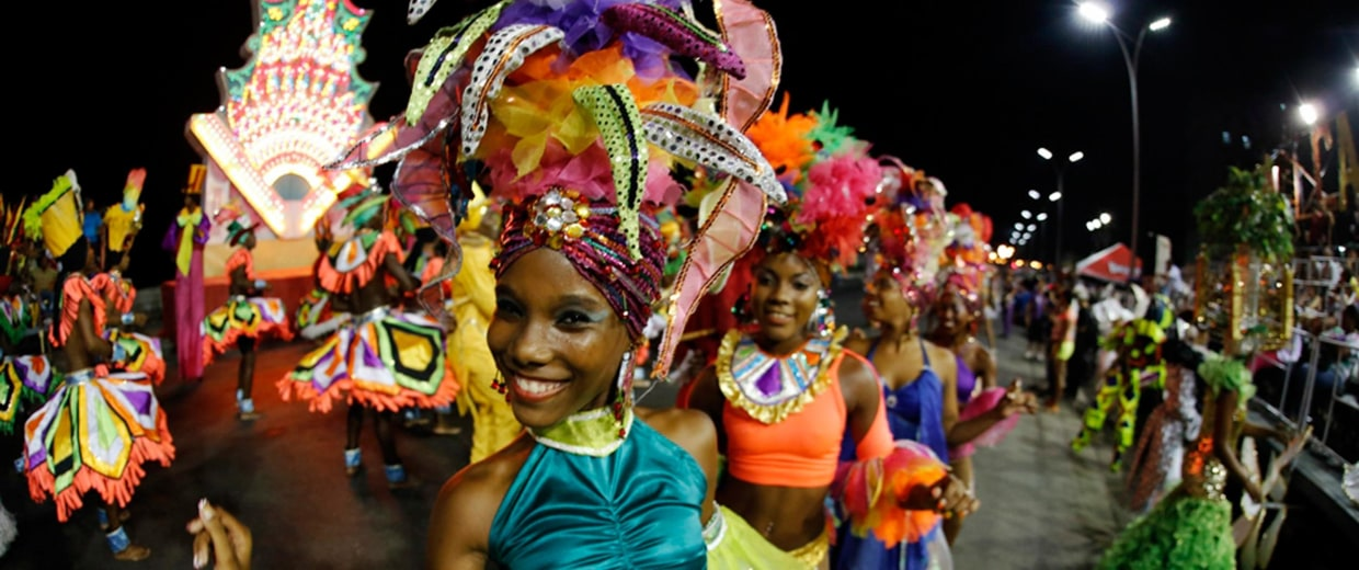 Image: A Cuban comparsa performs a dance in Havana City's carnival on Aug. 8.