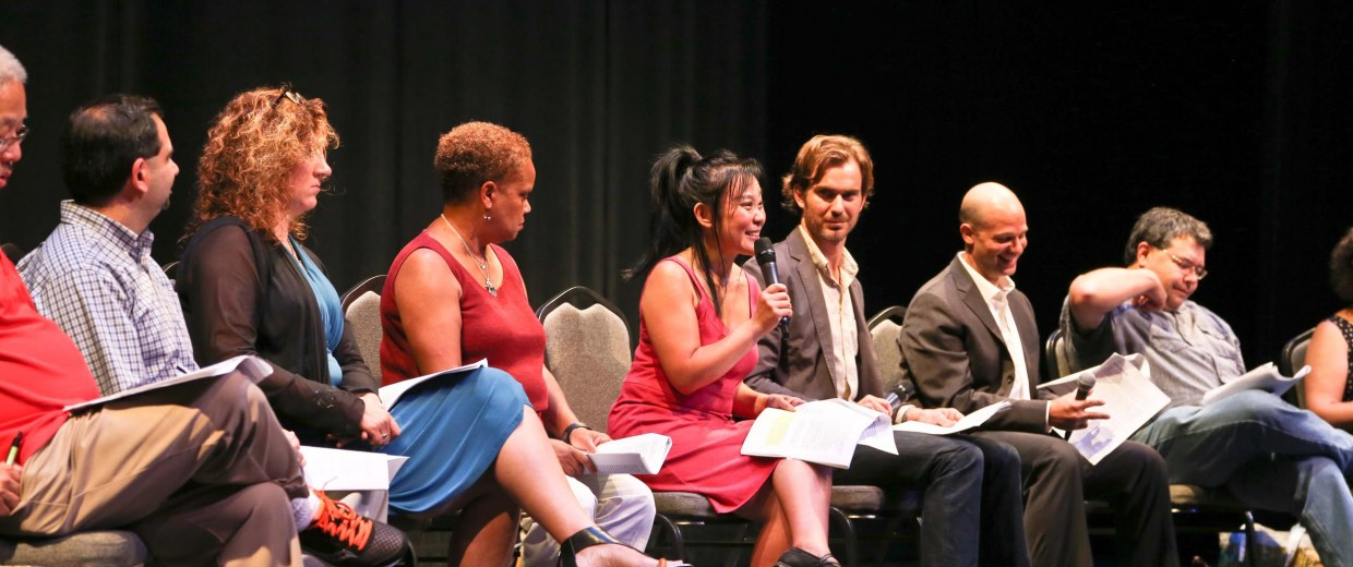 Image: A diverse panel of theater directors and arts administrators at Seattle Repertory Theatre take part in a  community forum