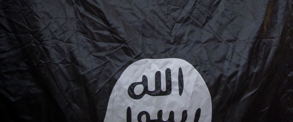 Image:A captured ISIS flag is shown in northern Iraq, Aug. 18, 2014.