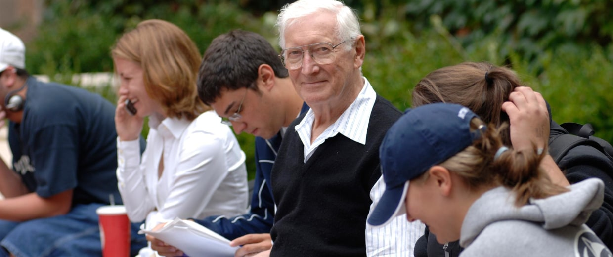 Image: A retired businessman attends a college campus