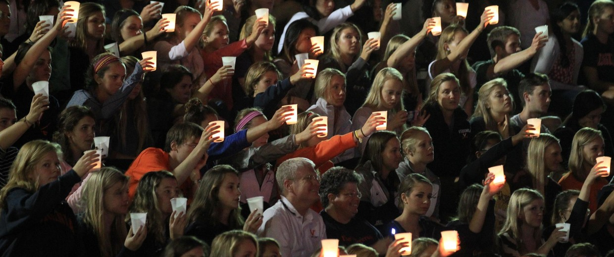 Image: Students, teachers and parents raise their candles in support of missing U.Va. student Hannah Elizabeth