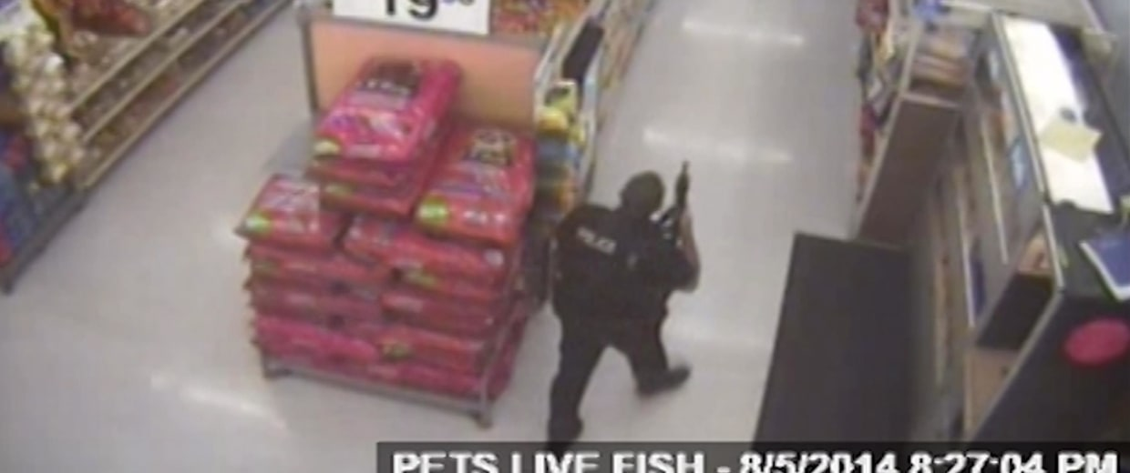Image: Surveillance footage shows police officers at a Walmart in Ohio