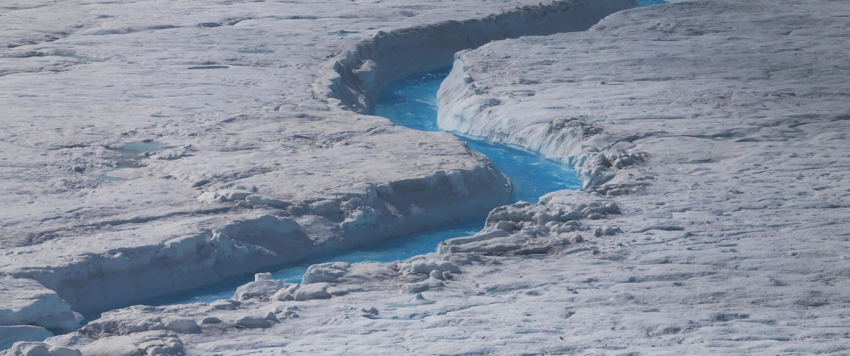 Image: Water courses through Greenland's ice sheet during the summer melt