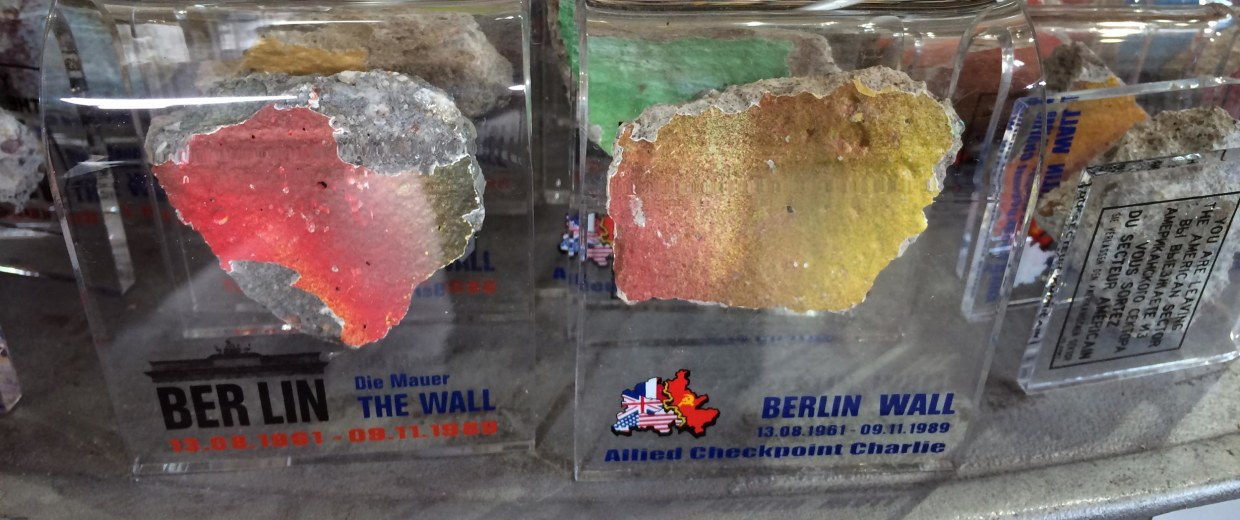 A souvenir store in Berlin sells what it claims are original pieces of the Berlin Wall.