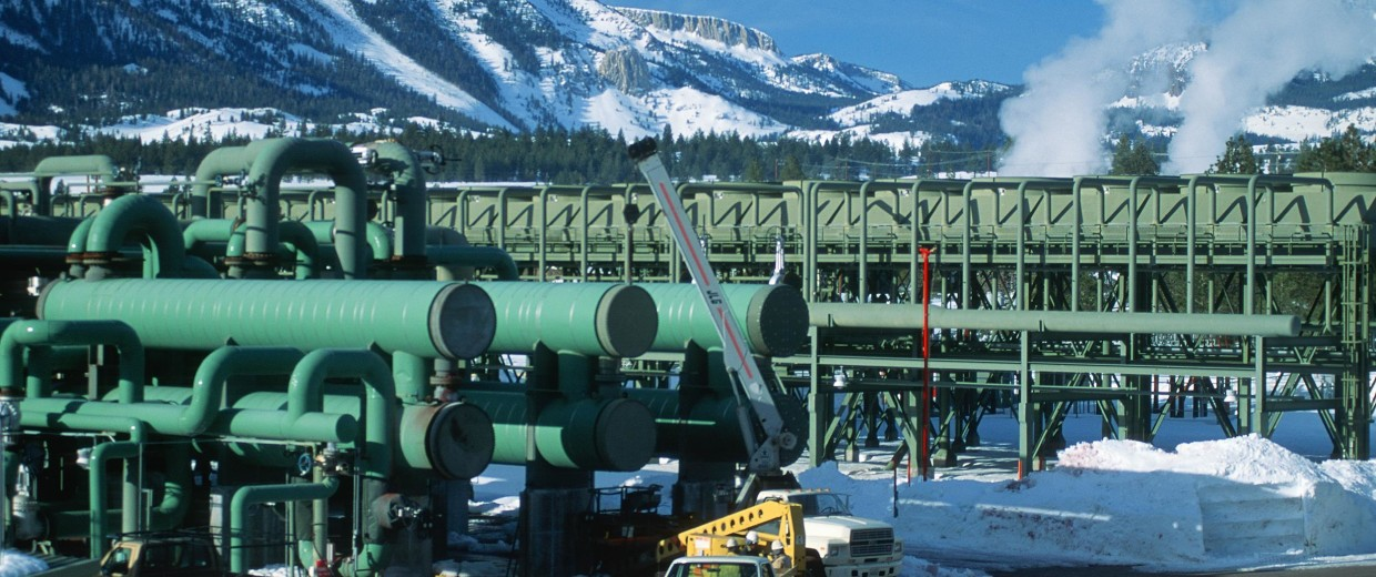 Geothermal power plant in winter, Mammoth Lakes, CA