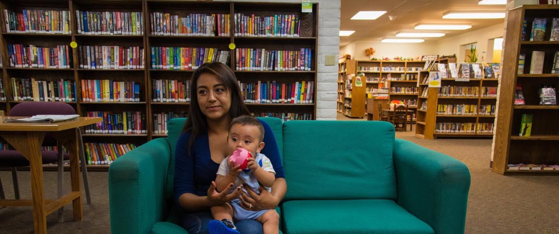 Image: Carina Ramirez holds her son Seth
