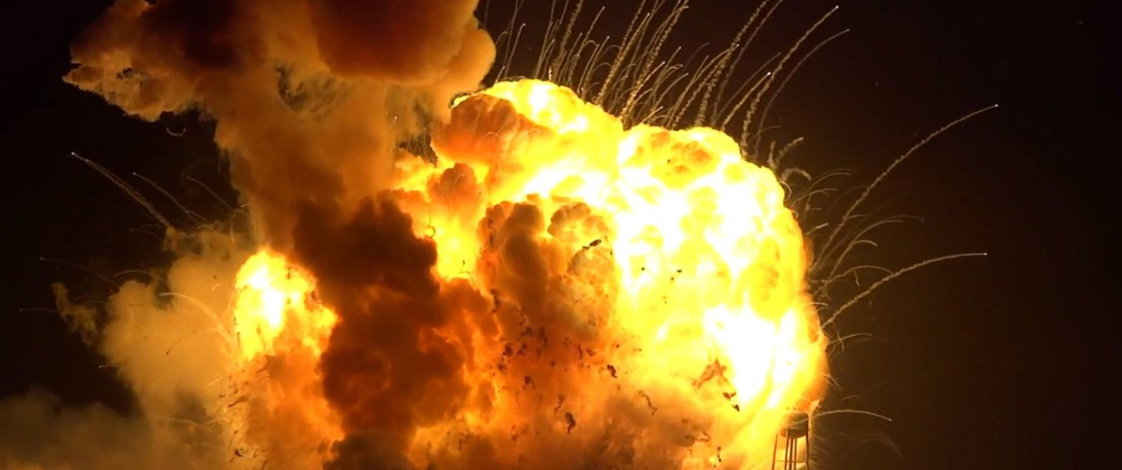 Image: An unmanned Antares rocket is seen exploding seconds after lift off from a commercial launch pad in this still image from video shot at Wallops Island