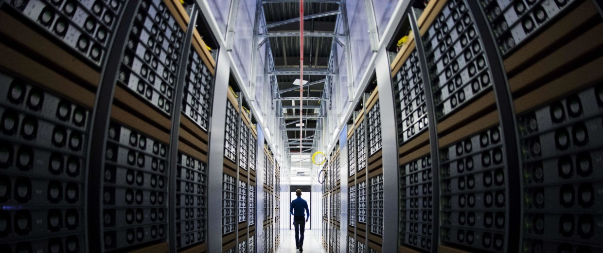 Image: A server room at a Facebook data center.