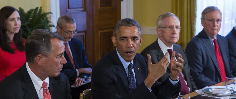 Image: Barack Obama, Mitch McConnell, John Boehner, Harry Reid