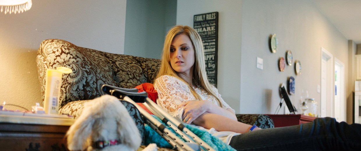 Image: Rebekah Gregory has had 16 surgeries to try and salvage her left leg