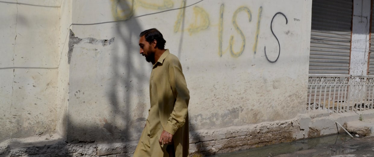 ISIS graffiti on a street in Quetta, Pakistan.