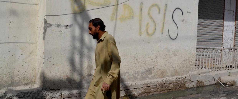 ISIS graffiti on a street in Quetta, Pakistan.