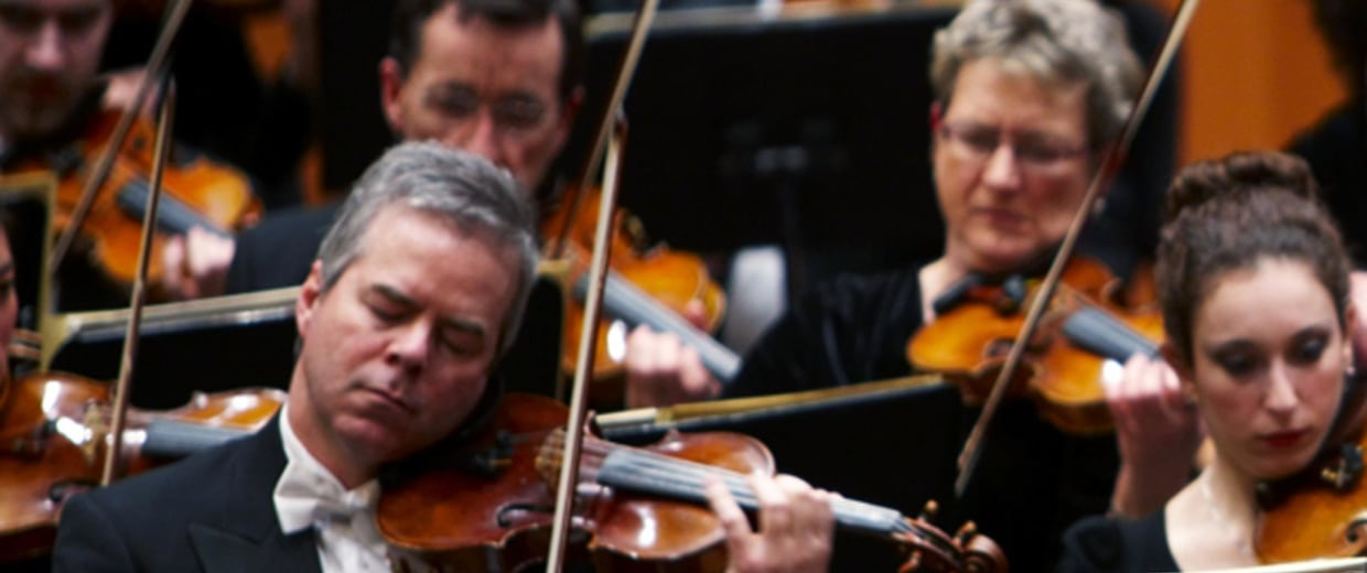 Image: Frank Almond plays a 300-year-old Stradivarius violin
