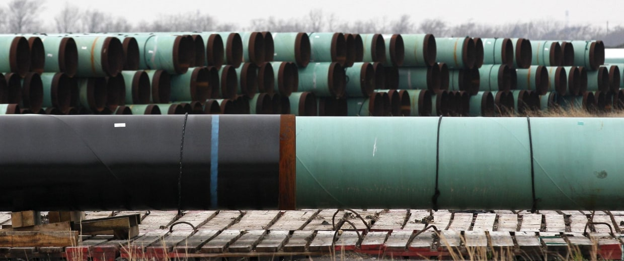 Image: Stacks of pipe are stored at the pipe yard for the Houston Lateral Project, a component of the Keystone pipeline system in Houston