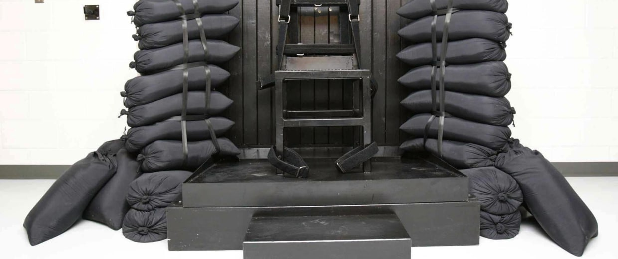 Image: The execution chamber at the Utah State Prison after Ronnie Lee Gardner was executed by firing squad