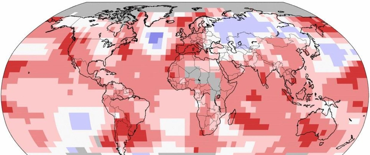 Image: A NOAA graphic shows the land and ocean temperature percentiles for October 2014