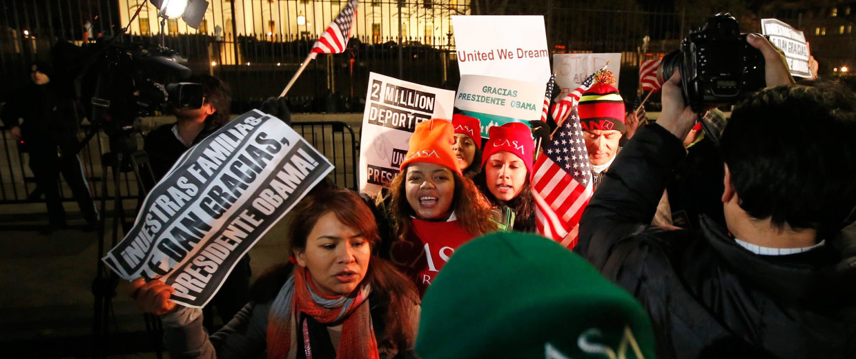 Image: People chant during a demonstration in front of the White House