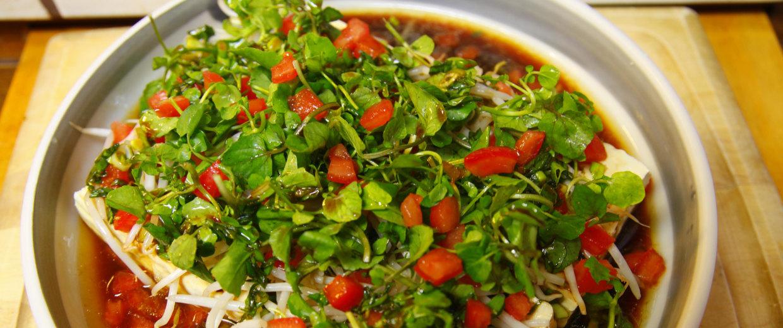Grandma Bette's Watercress Tofu Salad, prepared in the same dish year after year.