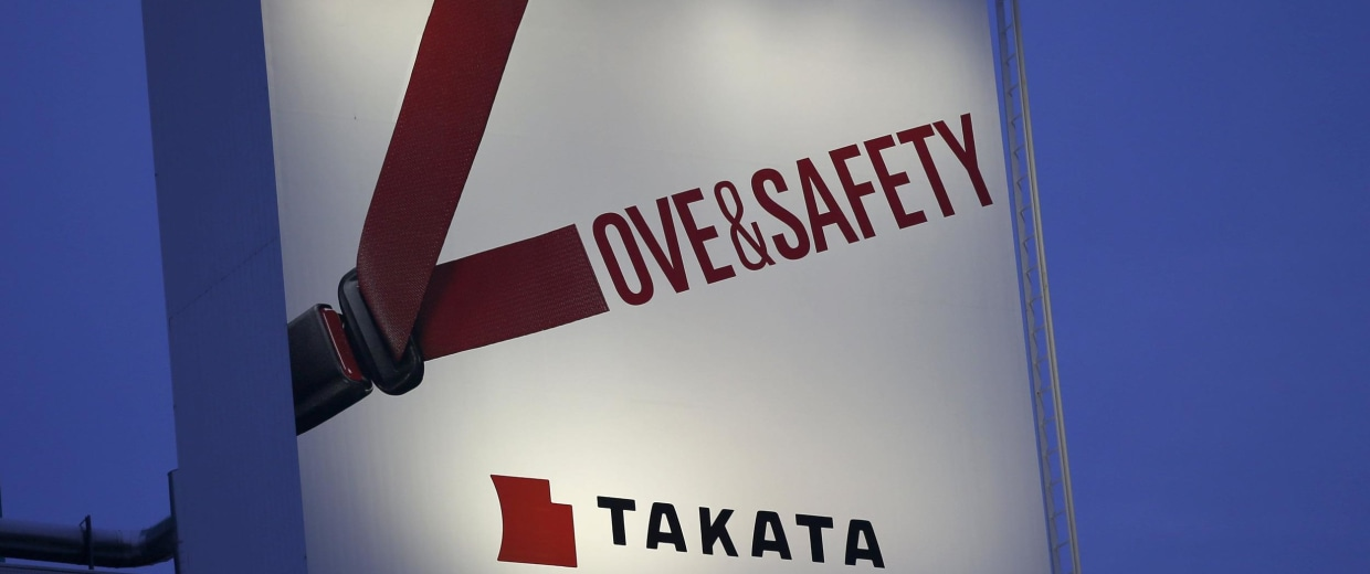 Image: File photo of a billboard advertisement of Takata Corp in Tokyo