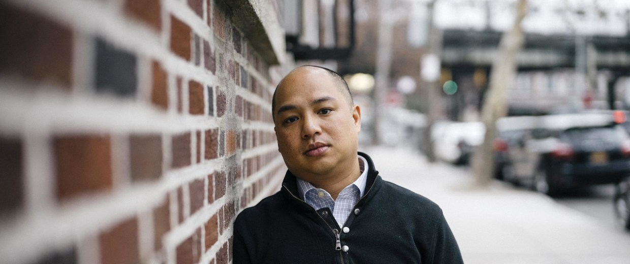 Image: Jared Rehberg poses for a portrait outside his apartment in Woodside, New York.. Jared was adopted from Vietnam by a family from Massachusetts.
