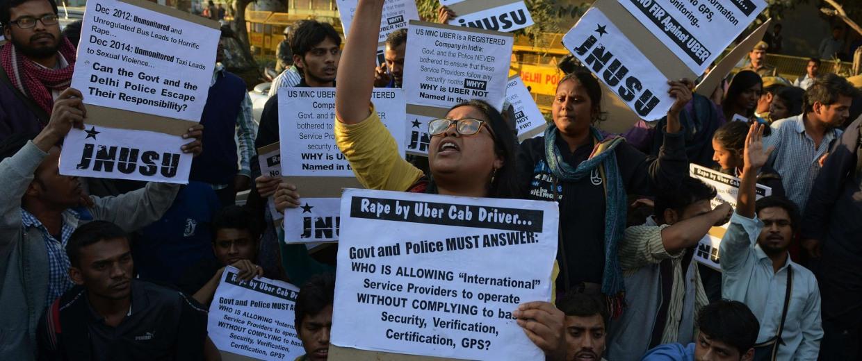 Image: Uber Protest in New Delhi