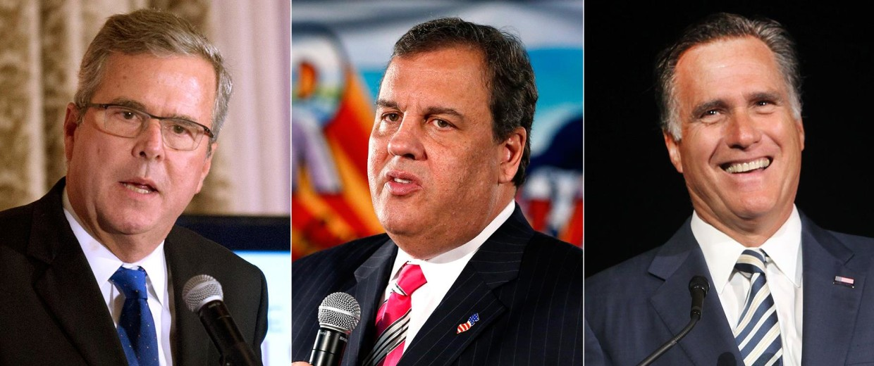 Image: Jeb Bush, Chris Christie and Mitt Romney
