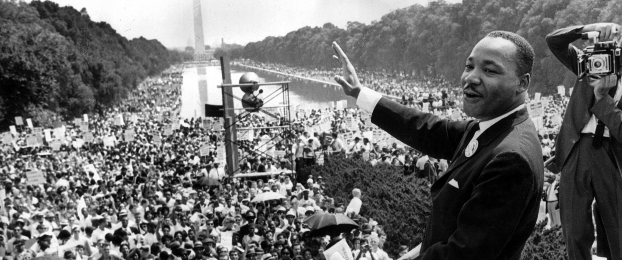 Image: Martin Luther King addresses a large crowd at the Lincoln Memorial for the March on Washington, August 28, 1963.