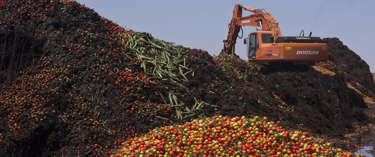 Image: A digger mixes discarded vegetables with compost in a pile of vegetable residue at the Albahida vegetable recycling plant in Nijar, in the southern Spanish region of Almeria